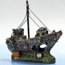 Aquarium Ornament Wreck Sailing Boat Sunk Ship Destroyer Fish Tank Cave Decor da