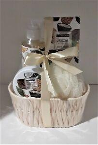 Bath set gift basket 4 Piece Mandarin Mango and Tropical in a small basket