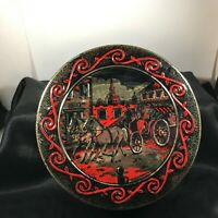 Vintage Fruitcake Tin Horse and Carriage Lid