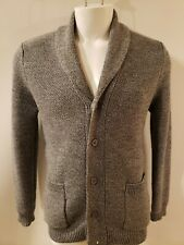 Sandro Paris Gray Merino Wool Shawl Collar Mens Cardigan Sweater MED