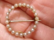 VICTORIAN ANTIQUE ROSE GOLD FILLED SEED PEARL CHATELAINE WATCH PIN!