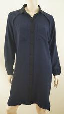 JAEGER LONDON Navy Blue & Black Collared Long Sleeve Coat Shirt Dress UK10