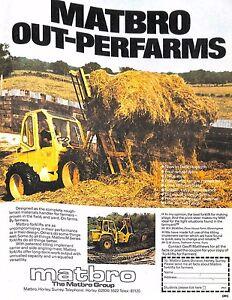 Original Vintage 1980s Farming Advert 'Matbro' -Power Farming Magazine 1980