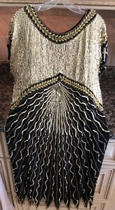 """Sequin Beaded Silk Evening Dress """"Swee Lo"""" Sz M Gold/Blk Lined Worn Once! E Cond"""