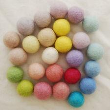 100% Wool Felt Balls - 2.5cm - 25 Assorted Light, Pale and Pastel Felt Balls