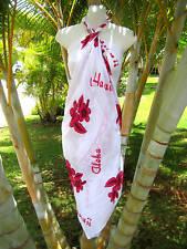 Hawaii Pareo Sarong White w/ Pink HB Luau Coverup Beach Pool Cruise Wrap Dress