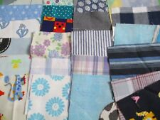 "24 Mostly BLUE Sewing Fabric Patchwork Remnants Quilting Squares 4 ""x 4 "" (10cm)"
