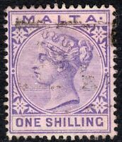Malta 1885 Violet 1/- crown CA used SG28