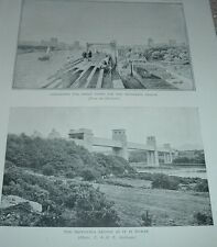 1920s Print ASSEMBLING GREAT TUBES BRITANNIA BRIDGE & AS IT IS TODAY Plate