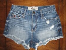 Hollister High Rise Cut Off  Distressed Ripped Denim Shorts 1 25 Light