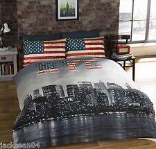 SINGLE NEW YORK CITY AMERICAN REVERSIBLE COTTON BLEND BLUE COMFORTER DUVET COVER