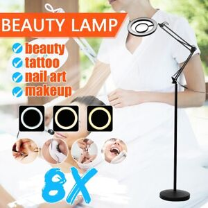 Adjustable 8X Magnifying Lamp Floor Stand 25W LED Eyeliner Tattoo Salon Beauty