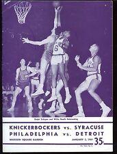 Jan 3 1961 NBA Basketball Doubleheader Program VGEX+
