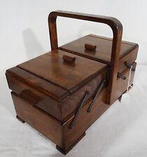Antiker Art Deco Nähkasten Utensilienbox Buche Nähkästchen antique sewing box