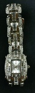 Victoria Wieck Mother Pearl Dial Swarovski Crystal CZ Band STATEMENT BLING WATCH