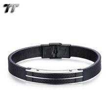 TT Black Leather 316L S.Steel Fibre ID Clip Bracelet Wristband (BR295S) NEW