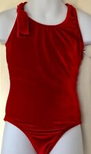 Gk Red Velvet Child Medium Leotard Gymnastics Dance Tank Cross Back Nwt! Cm