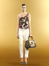 $995 NEW Authentic Gucci One Shoulder Silk Floral Top w/Bow Detail, 40, 298585