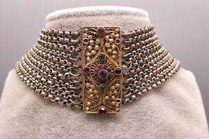 Prachtvoll verzierte 11er BIEDERMEIER Kropfkette Erbsketten Silber/vergoldet
