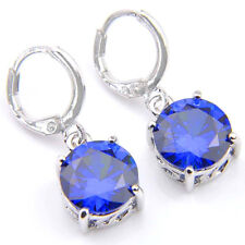 Gorgeous Shiny Round Blue Topaz Gemstone Silver Dangle Hook Earrings