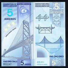 Federation of North America, 5 Ameros, 2011, Polymer, New, UNC