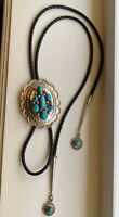 💠Vintage Navajo💠 EUC Sterling Silver Turquoise  Bolo Tie - 60 gm