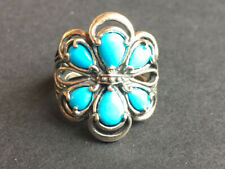 Carolyn Pollack Sleeping beauty Turquoise sterling silver Flower ring size 7