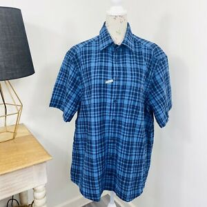 RM Williams Mens Shirt Plaid Check Linen Cotton Blue Short Sleeve Size XL NWT