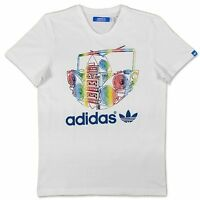ADIDAS ORIGINALS BOOM TREFOIL PARTY T-SHIRT HERREN WEISS BUNT RADIO REGENBOGEN S