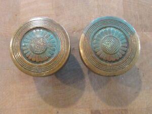 2 Antique Victorian Door Knobs 1800's Brass Bronze Sunburst Sunflower Design !!