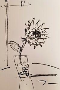 "JOSE TRUJILLO - OIL PASTELS Painting ABSTRACT Minimalism 13X19"" SUNFLOWER GLASS"