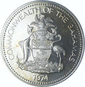 Better Date - 1974 The Bahamas 5 Dollars - SILVER *540