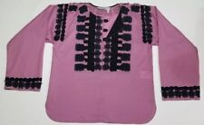 YVES SAINT LAURENT YSL 38 Women Blouse Top Shirt Purple Navy Ribbon Crochet 2005