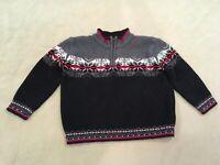 Hanna Andersson 90 Sweater Black Red Nordic Half Zip