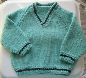"""Hand Knitted Baby JUMPER - SAGE Green with NAVY  18"""" chest, V Neck  **NEW**"""
