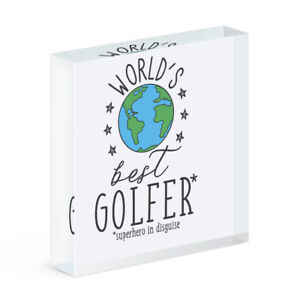 World's Best Golfer Acryl Foto Block Rahmen Lustig Favorit Sport