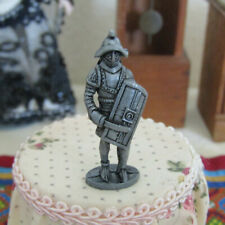 Vintage Dollhouse KNIGHT FIGURINE Miniature Pewter Medieval Castle Statue or Toy