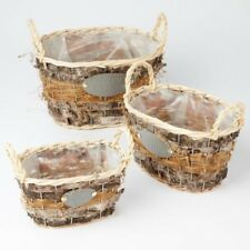 Oval Jaffa Baskets with Handles (Lined) Set of 3