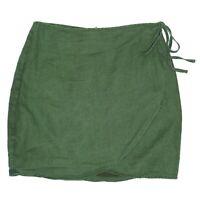 Mooloola Womens Green Wrap High Waisted Mini Skirt Linen Blend Size AUS 10
