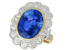 9.50ct Sapphire and 2.50ct Diamond, 18ct Yellow Gold and White Gold Cluster Ring