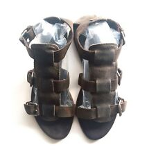 RARE AllSaints BROWN WASHED LEATHER FLAT GLADIATOR STRAPPY SANDALS Size UK 5 38