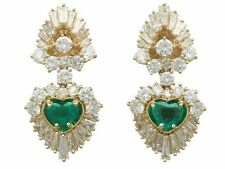Vintage 2.48 ct Emerald and 7.05 ct Diamond 18 ct Yellow Gold Clip On Earrings