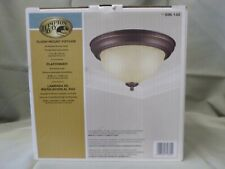 Hampton Bay Flush Mount 2 Bulb Light Fixture Oiled Bronze Finish Frosted Glass