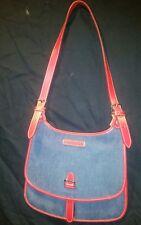 New Dooney & Bourke Denim w/Red Leather Trim Shoulder Bag