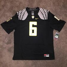 NWT Mens NIKE OREGON DUCKS Black #6 NELSON Stitched Replica Football Jersey XL