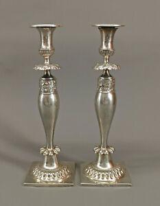 8730002 Paar Silberne Leuchter Biedermeier um 1830/40 Breslau H29,5cm