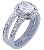 14K WHITE GOLD CUSHION CUT DIAMOND ENGAGEMENT RING AND BAND ART DECO HALO 1.75CT