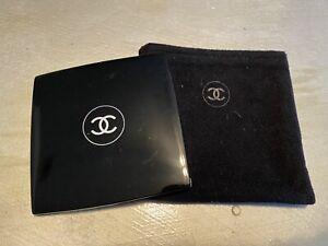 Chanel Compact Black Pocket Mirror W/ Black Sleeve