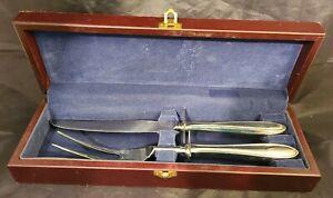 Hampton Silversmiths Stainless Steel Carving Knife& Fork Set w/ Wooden Box *k61