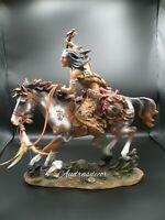 """Native American Indian Brave On Horse (War)  Hand-Painted Resin Statue 16"""" Tall"""